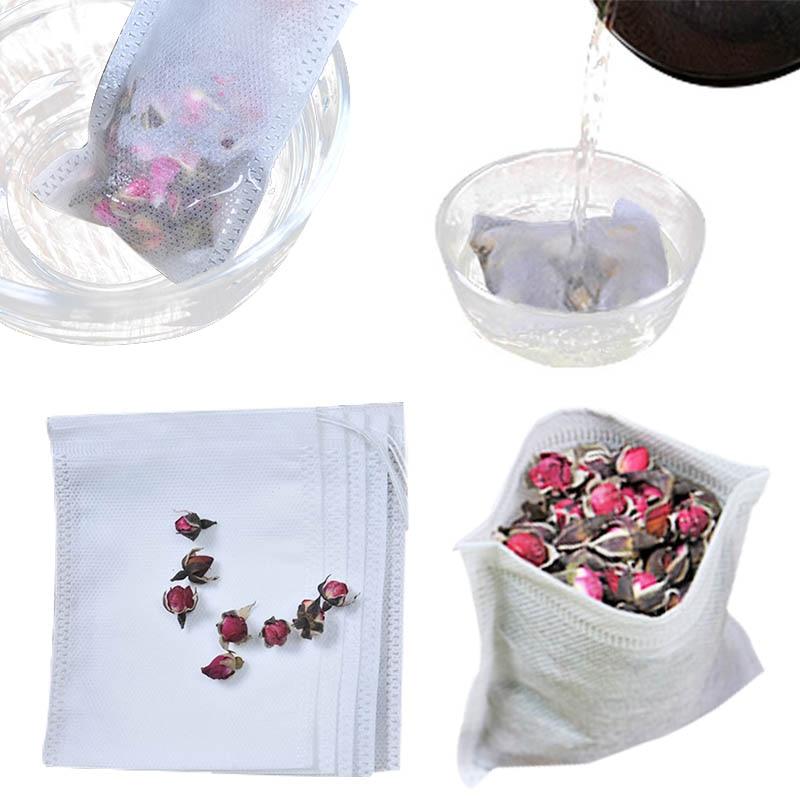 Tea Filter Bags 100pcs/Lot U Shape Disposable Tea Infusers Filter Teabags Drawstring Seal Paper Empty Tea Bag For Herb Loose Tea