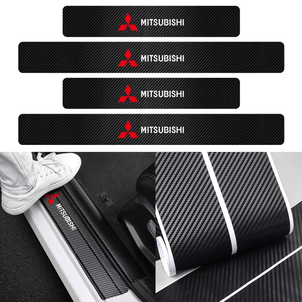 4 шт. 3D порог машины и устойчивая к царапинам Водонепроницаемый протектор наклейки для Mitsubishi Lancer EX Outlander ASX Evo X RVR Mirage