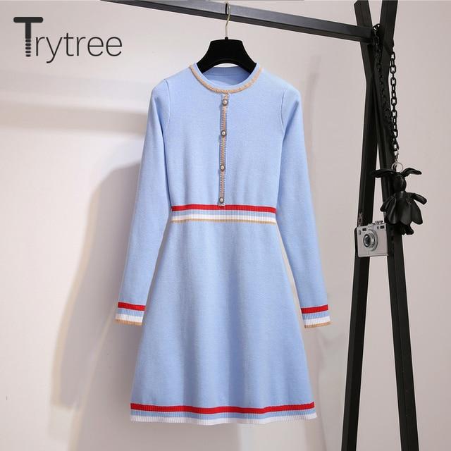 Trytree 2020 Autumn Winter Women Casual Dress O-neck Knitting Spliced Fashion Elegant Button A-line Mini Office Lady Dress 2