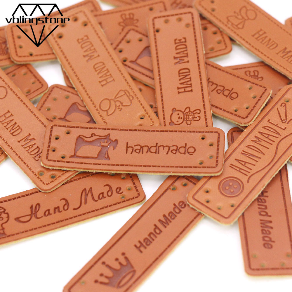 50Pcs Mixed Cartoon Muster <font><b>Label</b></font> Nähen Tier Hand Made Tags PU Leder Handgemachte <font><b>Label</b></font> Nette Stricken Tags Für Hüte /kleidung DIY image