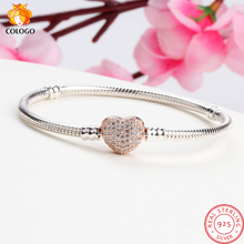 цена на Luxury 100% 925 Sterling Silver Love Sparkling Heart Snake Chain Fit Heart Charm Bracelet & Bangle For Women Fine Jewelry ZY1