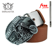 Zinc Alloy LIVE TO RIDE Motor Jeans Gift Belt Buckle for Men Silver Solid with Leather Drop Shipping