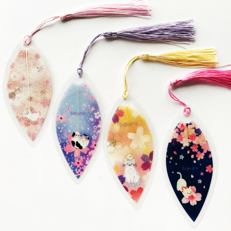 Romantic Leaf Shaped Cat & Sakura Bookmark With Tassel Marker Of Page School Office Supply Student Stationery