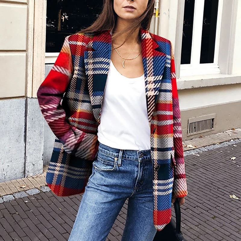 Women Casual Plaid Blazer Jacket Single Breasted Pockets Notched