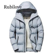 купить Rubilove Winter Men Parka Jacket 2019 Men's Winter Solid Color Simple High Quality Casual Down Jacket Warm Thick Hooded Parkas M по цене 1236.84 рублей