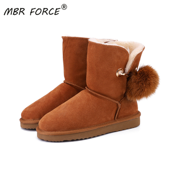 MBR FORCE new fashion Australia Quality Genuine Leather Snow Boots for Women Winter Boots Women Warm Boots Female shoes black aiyuqi genuine leather female winter boots full cowhide waterproof wool lined fashion women booties female bare black boots