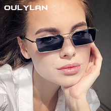 Oulylan Vintage Small Rectangle Sunglasses Women Luxury Bran