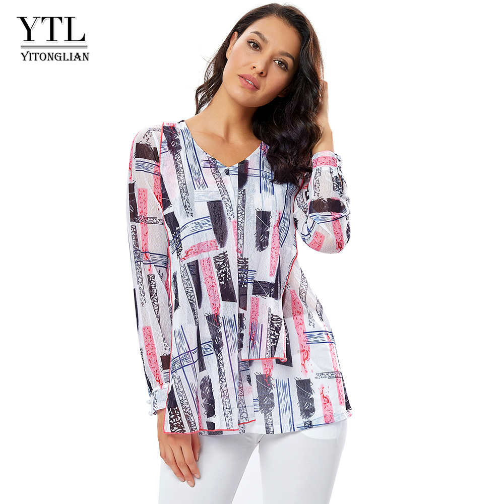 YTL Women's Printed Blouse Geometric Mesh Wrap Tunic Shirt Casual Boho Style Blusa Female Top Shirts Plus Size 5XL 8XL H276