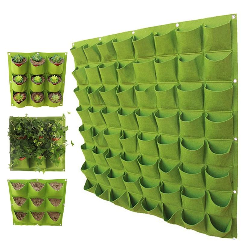 Wall Planter Grow Bags For Plants Vertical Garden Nursery Bag 72 Pockets Flower Seedsplants Grow Bag Garden Decoration Tools