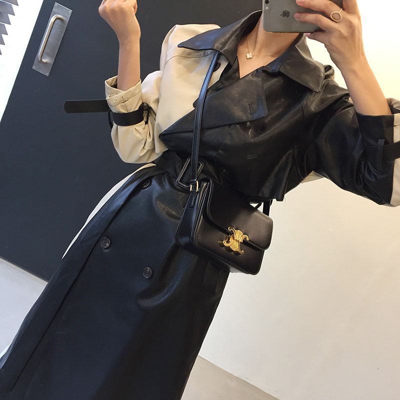 2020 Spring Winter Leather Jacket Women Patchwork Waist Long Pu Coat With Belt Fashion Loose Trench Coat Women Overcoat PY108