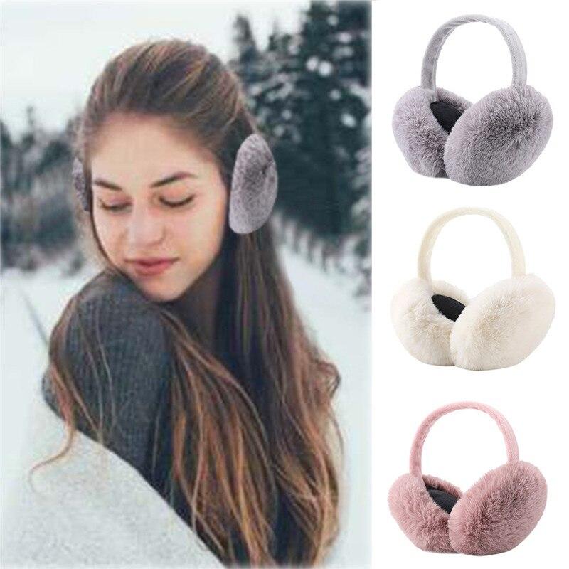 Winter Cute Ear Warmers Fashion Women Girl Soft Plush Fur Earmuffs Muffs Outdoor Foldable Earmuffs Earlap Headband #40