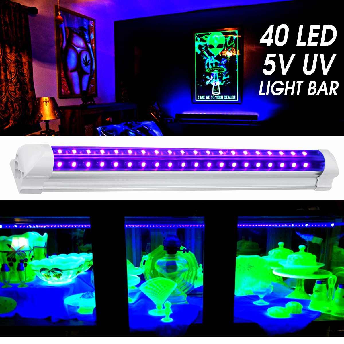 Smuxi 40 LEDs UV Ultraviolet Strip Light Bar UV Blacklight DJ Party Club Effect Light Fixture Stage Decor Disco Stage Lamp