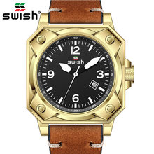 Swish кожаные кварцевые наручные часы 2020 повседневные мужские