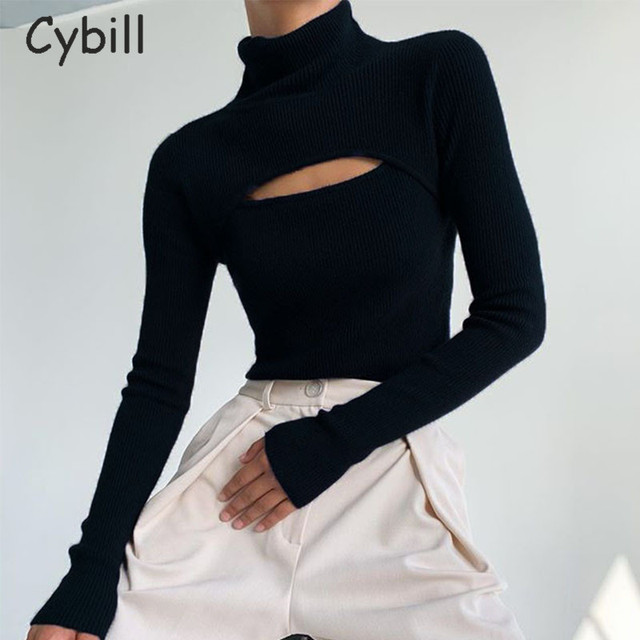 Ribber Knitted Turtleneck Top Women Hollow Out Casual Long Sleeve 4