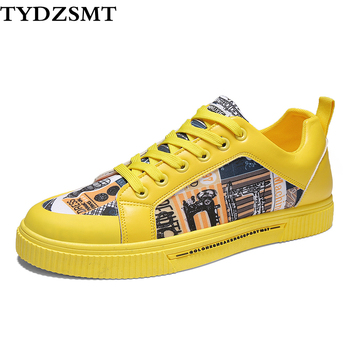 TYDZSMT Women Shoes 2020 Fashion Graffiti PU Flat with Sneakers Spring/Autumn Casual Women Shoes Plus Size Colorful White Shoes