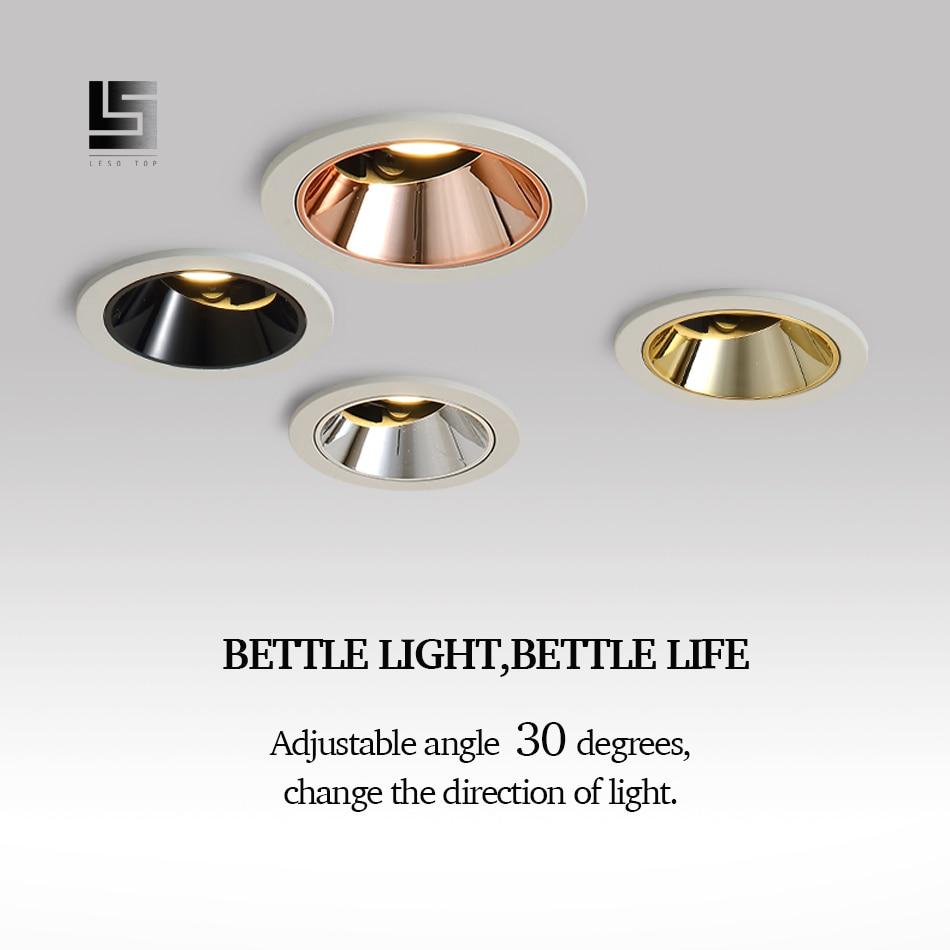 Luz LED empotrada de techo LED 9w 12w COB de alta gama para mejorar el hogar tienda de ingeniería de hotel villa iluminación interior