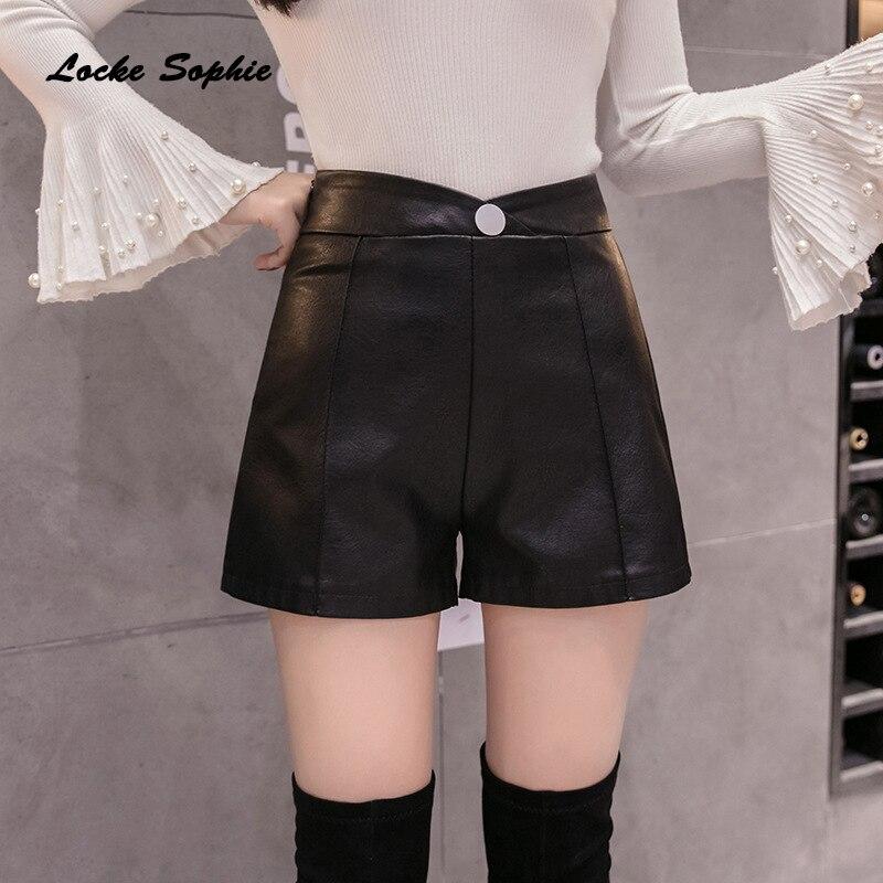 High Waist Shorts Women's Plus Size Leather Shorts 2019 Autumn PU Leathe Faux Double-breasted Black Shorts Ladies Skinny Shorts