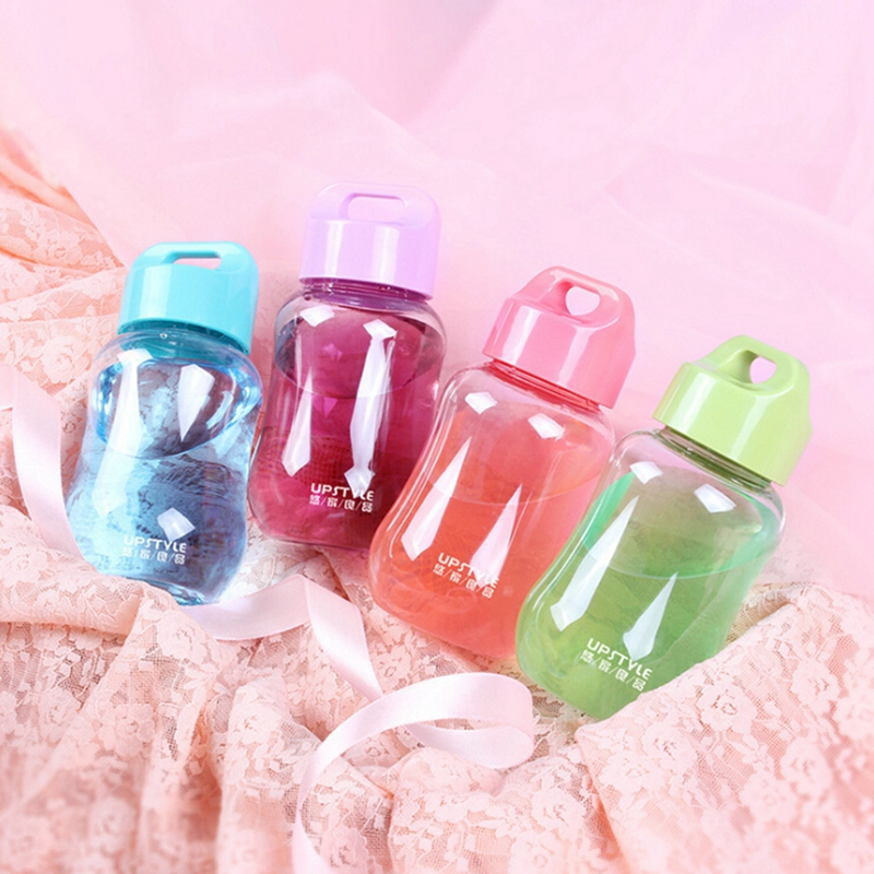 Cartoon Portable Water Bottles Mini Pupils Female Cute Water Bottle Plastic Cup With Rope Handle Tour Bottles Lemon Juice Kettle in Water Bottles from Home Garden