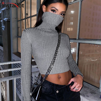 InstaHot pullovers knitted sweater women casual turtleneck sweaters jumpers solid gray black female sweater knitwear crop top casual basic turtleneck sweater women knitted pullovers ladies solid sweater jumpers autumn female knitting tops jk153