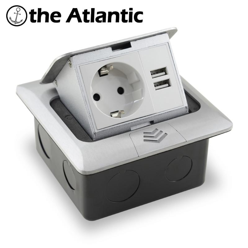 16A Европейская стандартная розетка Универсальная 2-контактная с usb-портом для зарядки всплывающая напольная розетка 2-сторонняя розетка из а...