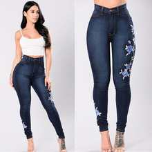 2019 Women Stretch High Waist Skinny Embroidery Jeans Floral Print Denim Pants Trousers Pencil Pant Plus Size Womens Jean