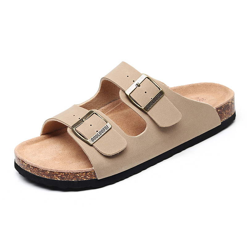 Image 2 - 2019 New Men's Leather Mule Clogs Slippers High Quality Soft Cork Two Buckle Slides Footwear For Men Women Unisex 35 46-in Slippers from Shoes