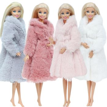 Wielokolorowe miękkie futra z długim rękawem dla lalek Barbie odzież zimowa ubranka akcesoria dla lalek Barbie zabawki dla dzieci tanie i dobre opinie BJDBUS Tkaniny CN (pochodzenie) Fit for 11 5 in -12 in (30cm) doll Dziewczyny Styl życia Suit The doll is not including