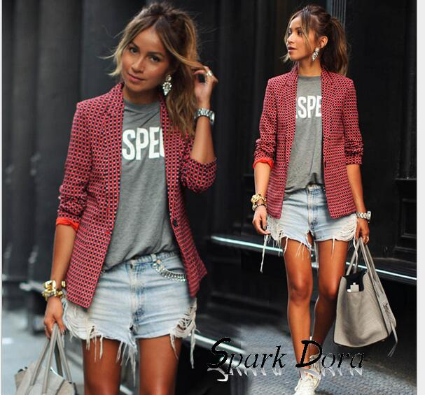 SparkDora TikTok Internet Celebrity Same Paragraph 2019  Summer New Red Long-sleeved Lapel Plaid Small Suit Female Blazers