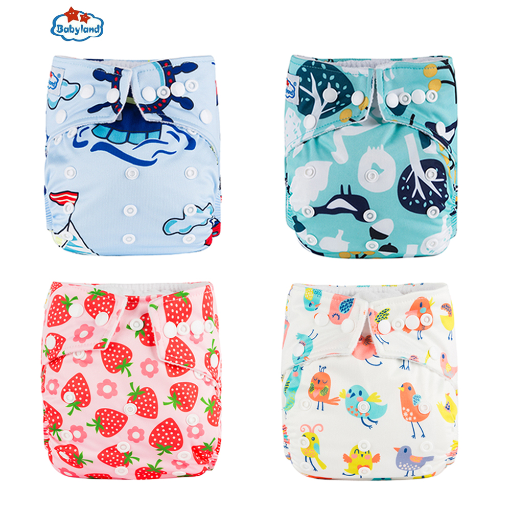 Babyland Fraldas Ecologica Nappy Cover 1PC +1PC Microfiber Insert Absorbment Liner Waterproof Cloth Diaper Reusable Pocket Nappy