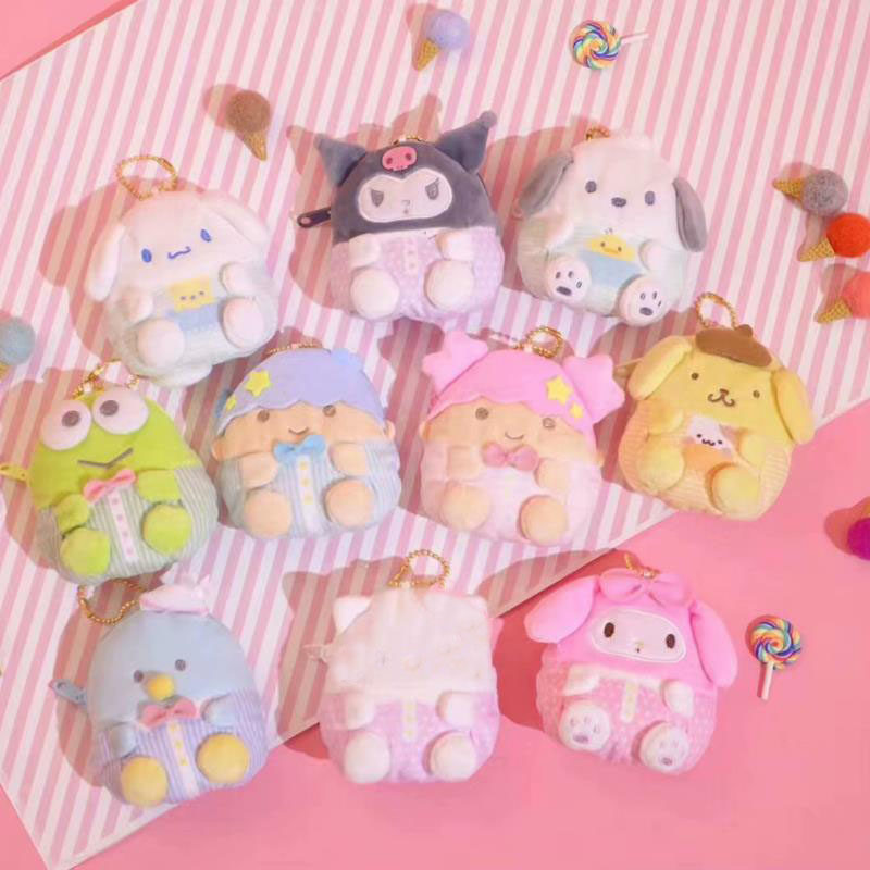 1Pc New Japan Little Twin Stars My Melody Pudding Cinnamoroll Dog Plush Doll Purse Penguin Coin Bag Plush Toys Kids Gifts