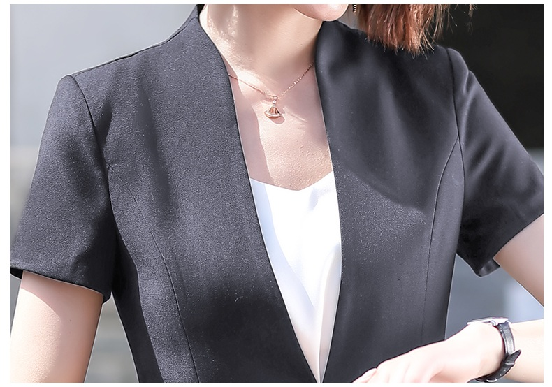 Female Elegant Formal Office Work Wear Summer Pant Suit for Women Suits Grey Blazer and Jacket Sets Ladies Clothes Short Sleeve