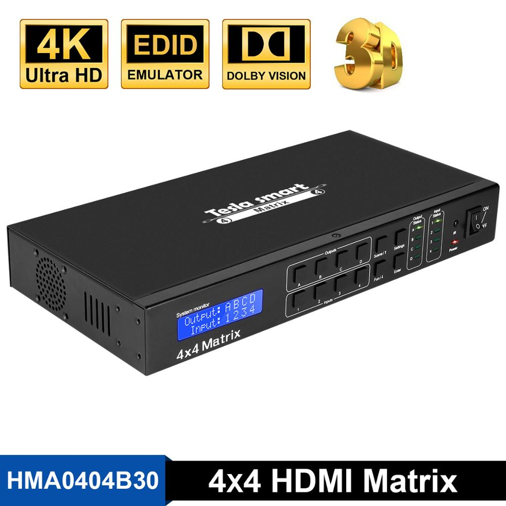 4K 4x4 HDMI Matrix 4 In 4 Out Ultra HD 4K with LAN RS232 Up to4K*2K(3840*2160)@30HZ HDCP 3D HDMI 1.4 Complianttesla smartversion  -