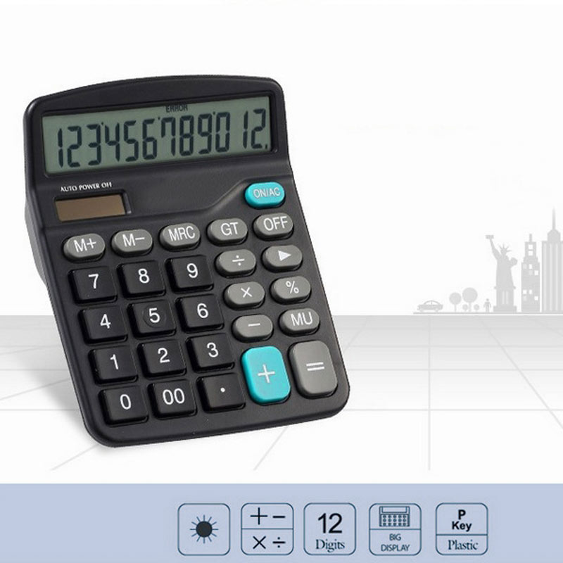 Black 12 Digit  Large Screen Calculator Fashion Computer Financial Accounting GV99