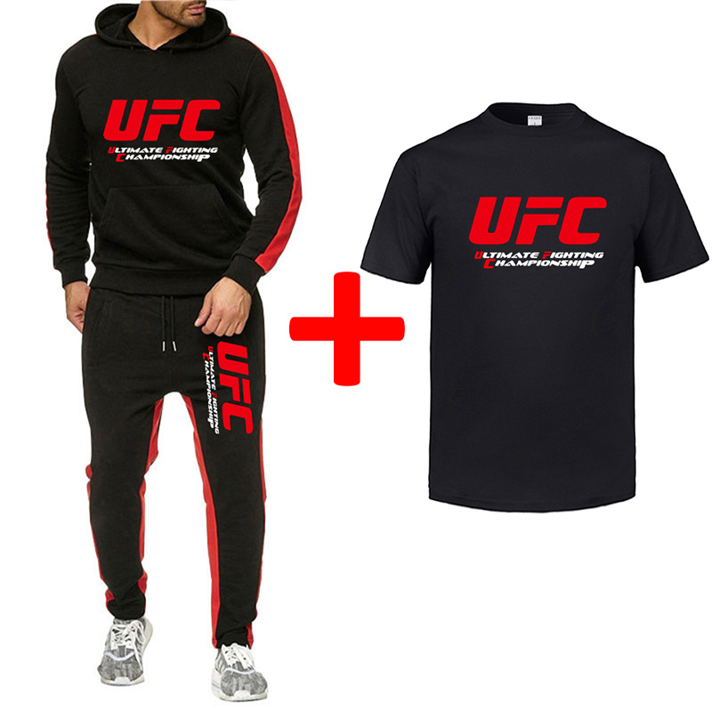 Men Sets UFC Print Sweatsuit Men Tracksuit 2019 Brand Sporting Suit Tracksuit Male Sportswear Jackets Hoodie+Pants+T-shirt Suit