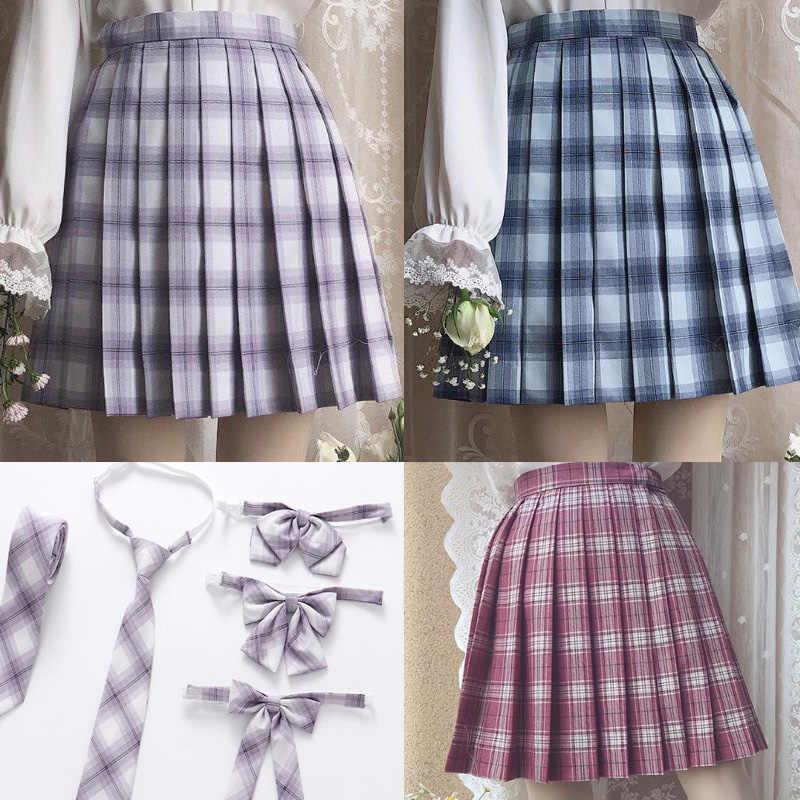 גבוה פסולת משובץ קפלים חצאית נשים Kawaii Harajuku יפן JK אחיד גבוהה מותניים בית ספר ילדה חמוד חצאיות בדק קפלים חצאית