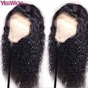 Yeswigs encaracolado peruca de cabelo humano com o cabelo do bebê 13x4 bob perucas frontal do laço pré arrancado curto remy peruano peruca frontal do laço afro