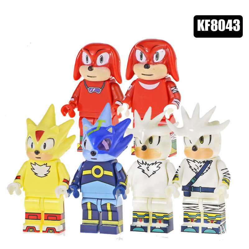 Singola Vendita Building Blocks Super Heroes Mattoni Super Metal Sonic Knuckles Silver The Hedgehog Legoinglys Figura Giocattoli Del Capretto KF8043
