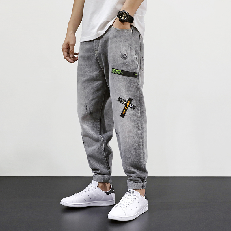 Fashion Streetwear Men Jeans Gray Color Loose Fit Patches Designer Ripped Jeans Men Harem Pants Korean Style Hip Hop Jeans Homme