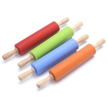 Non-stick Wooden Handle Plastic Rolling Pin Pastry Dough Flour Roller Kitchen Baking Kneading Tool stamping brayer art clay tools for craft 3 5x8x11cm non stick roller pin clay roller pottery rolling pin modelling tool