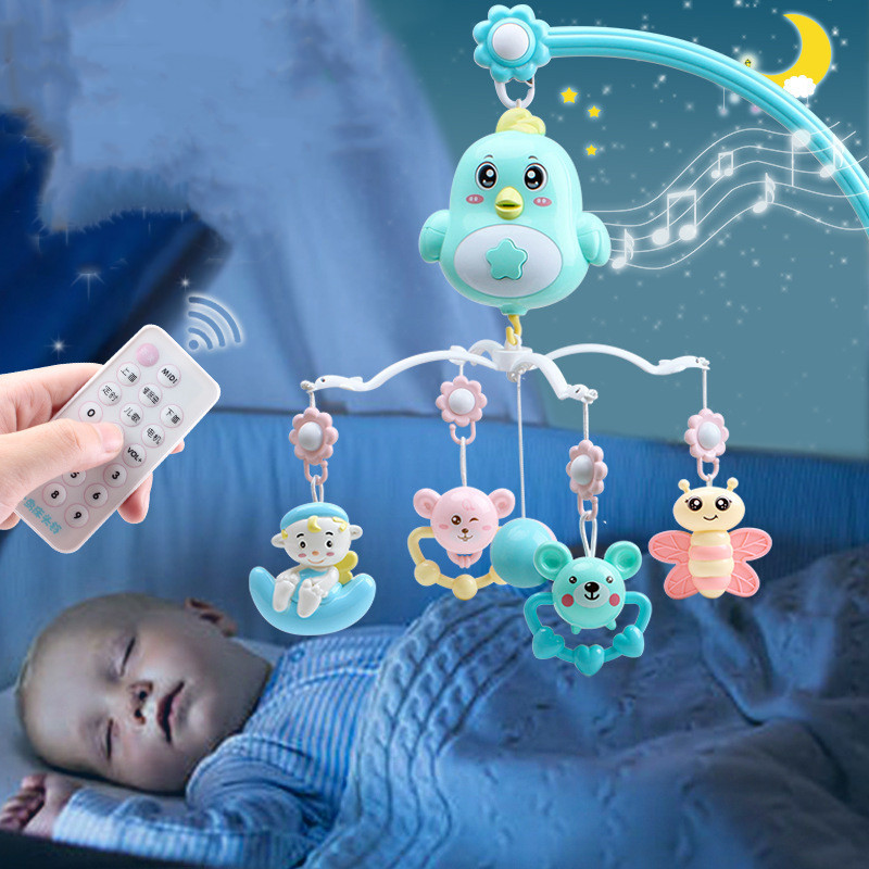 0-12 Month Music Rotate Baby Rattles & Mobiles With Remote Control Teether Rattle Pendant Projection Early Education Sensory Toy