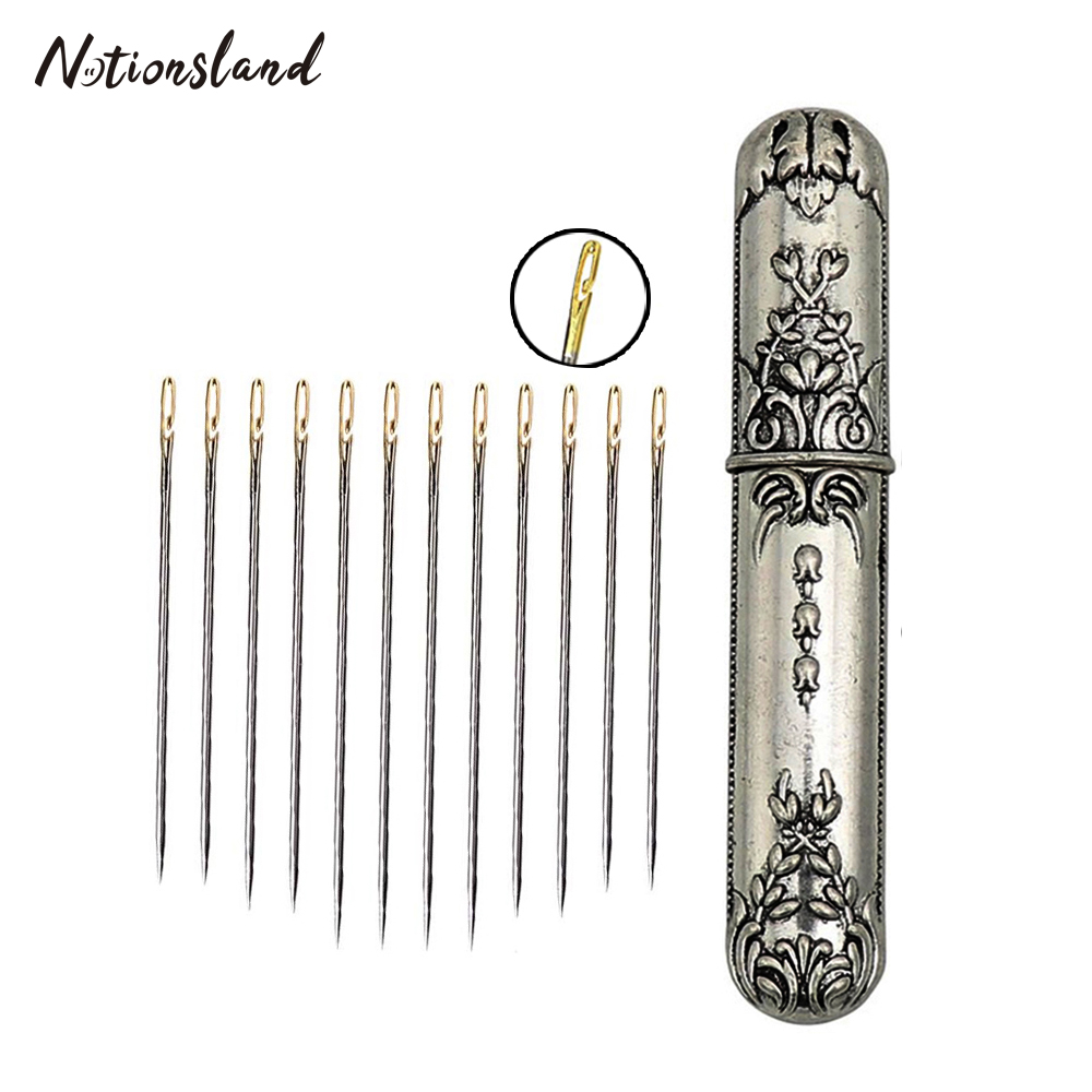 24pcs Self Threading Needle Pins Hand Sewing Needles&Vintage Needle Case For Needlework Repair Stitch DIY Sewing Tools