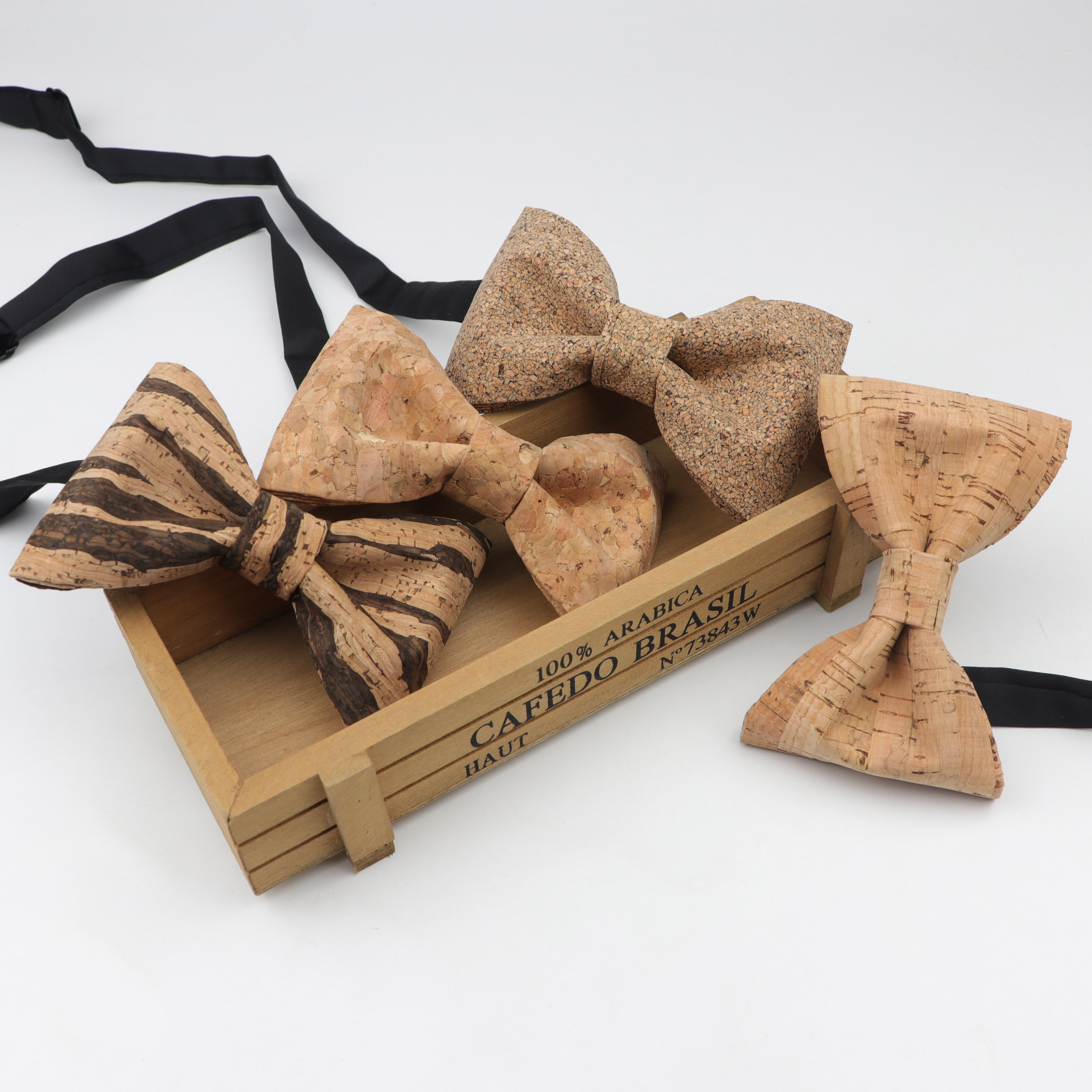 Handmade Cork Polyester Wooden Bow Ties For Men Wedding Party Unique Accessories Neckwear Solid Color Buttery