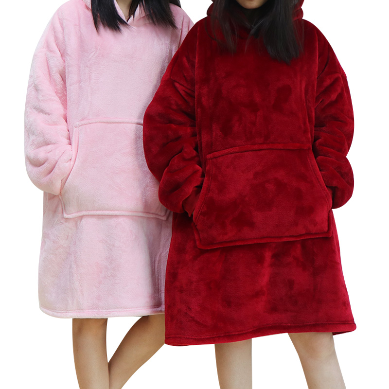 Winter Hoodies Women Sweatshirts Hoodies Blanket Warm Outdoor Hooded Coats Comefy Hooded Blanket Bathrobe Robe Fleece