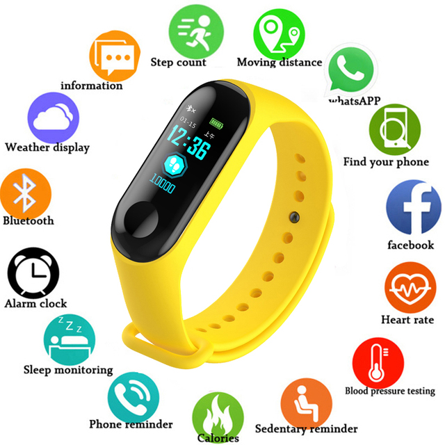 Fitness M3 Color Screen Smart Sport Bracelet Activity Running Tracker Heart Rate For Children Men Women Watch For IOS Android M4