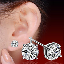 Exquisite Korean Simple 4mm 5mm 6mm Zircon Stud Earrings For Women men Silver Color Earring Earings Jewelry Earing Brincos(China)
