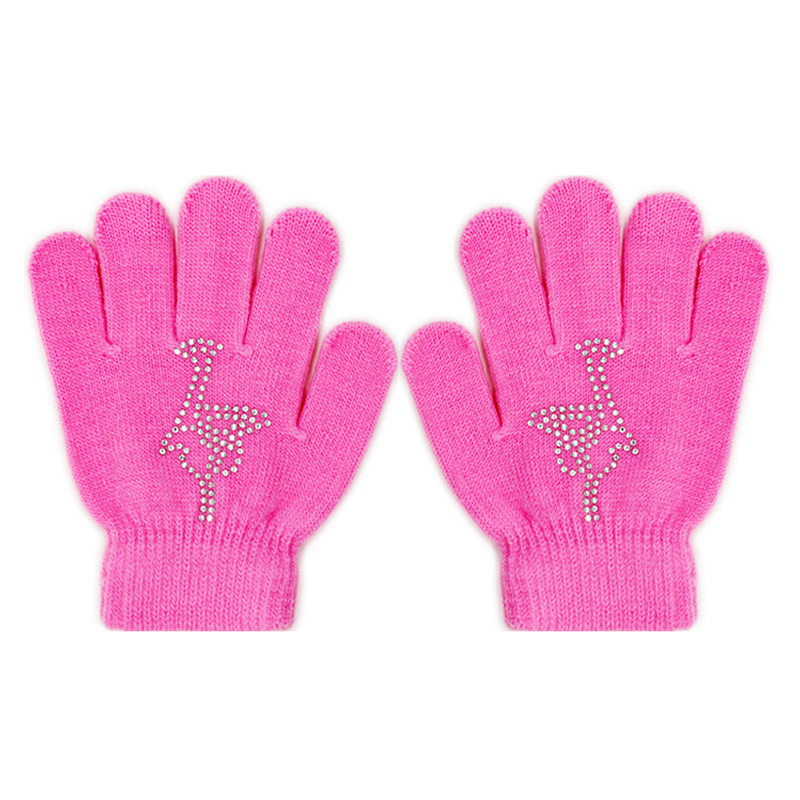 Colorful Magic Figure Skating Wrist Gloves Training Warm Hand Protector Thermal Thicken Safety For Kids Rhinestone Glue Non-slip