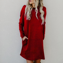 Women Long Sleeve O Neck Dress Solid Casual Loose Warm Knitted Sweater Dresses Autumn Winter Pocket Mini Straight Dress цены