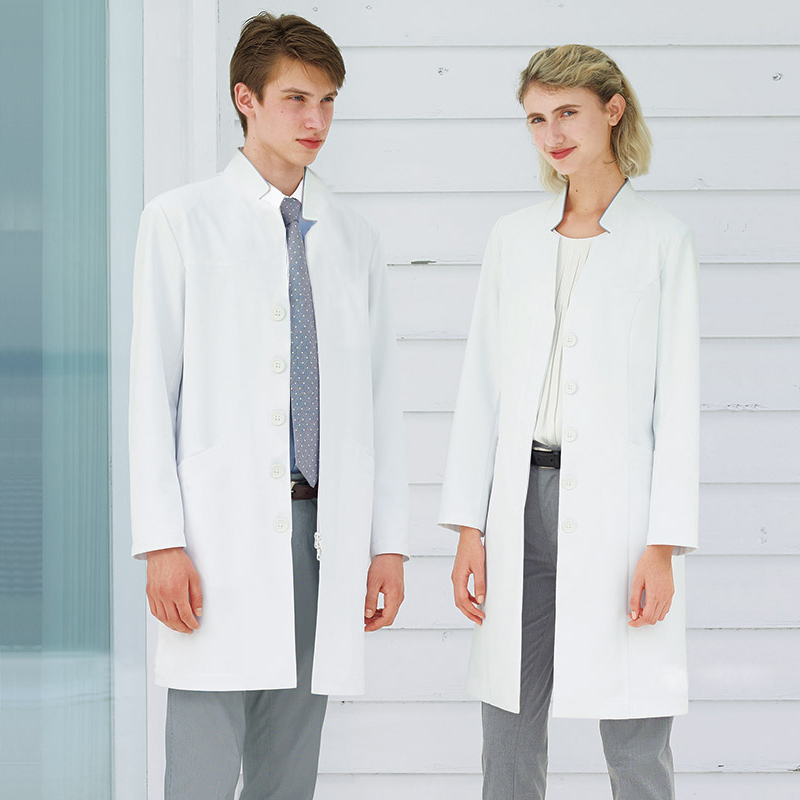 Plastic surgeon oral dentist costume white coat long sleeve stand collar doctor uniform beauty salon image