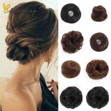 Очаровательные синтетические гибкие волосы пучок кудрявые резинки шиньон эластичные грязные волнистые резинки для наращивания конского хвоста для женщин