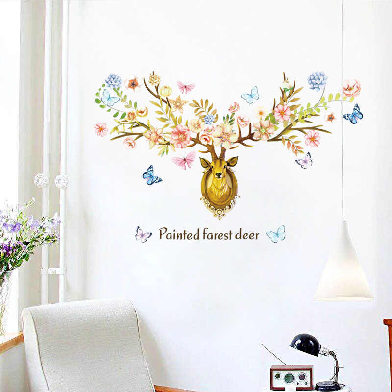 Diy Sika Deer Head Flowers Wall Stickers For Living Room Art Vinyl Wall Decals For Kids Baby Home Decor Adesivo De Parede Flower Wall Sticker Wall Stickerstickers For Aliexpress